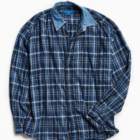 Vintage Contrast Denim Collar Flannel Button-Down Shirt | Urban Outfitters