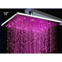 """16\"""" Water Power Big Stainless Steel Square 3 Color LED Temperature Sensitive Rainfall Shower Head ,Chrome Finish Ys-1733: Home Improvement"""