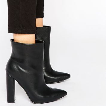 Daisy Street Black Pointed Toe Heeled Ankle Boots