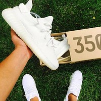 Adidas Women Men Yeezy 550 Boost 350 V2 Fashion Girl Boy Trewnding Personality Leisure Sport Running Shoe Sneakers Full white I