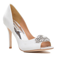 Lavender-II Embellished Peep Toe Satin Pump
