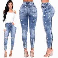 2018 New Fashion Blue Destroyed Ripped Slim Denim Pants Jeans Trousers Ladies Womens Daily Casual Jean for Women Pant Clothing