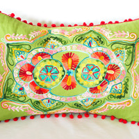 Green Turkish Lumbar Decorative Pillow, Boho Cushion Cover, Embroidered Pillow, Cotton Pillow Case, Authentic Pillow Cover,Pillow Sham