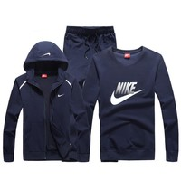 Nike Fashion Casual Hooded Cardigan Jacket Coat Top Sweater Pants Trousers Set Three-Piece-5