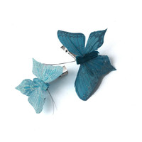 Crown and Glory Hair Accessories — Feather Glitter Butterfly Clips - Blue