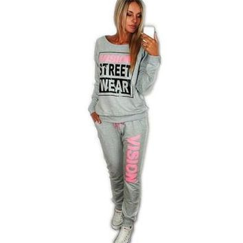 New PiNK Vision Street Wear Print Women's Tracksuits O-Neck Sport Suit Set Jogging Suits For Women [9305809351]