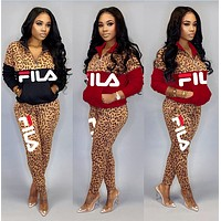 FILA fashion women patchwork color contrast leopard Top + pants two piece suit