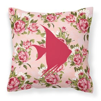 Fish - Angel Fish Shabby Chic Pink Roses  Fabric Decorative Pillow BB1022-RS-PK-PW1414