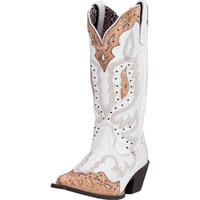 Laredo Womens Pressley White Crackle With Tip Snip Toe Cowgirl Boots