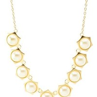 Gold Geometric Pearl Collar Necklace by Charlotte Russe