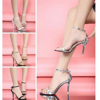 Hot Sale Vogue 4 Color Woman Summer Shoes Supermodel T-stage Classic Dancing High Heel Sandals Sexy Stiletto Party Wedding Shoes