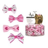 Aria Polycotton Ribbon Pretty In Pink Dog Bow Canister, 48-Pack