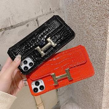 Hermes new crocodile skin iPhone12 mobile phone case can be inserted into the card Apple 11 simple luxury 7plus/XS MAX