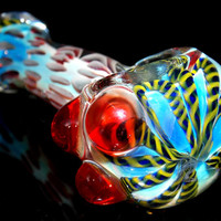 Heavy Fumed Glass Pipe w/ Red Color Drop Pattern Triple Marbles and Latti Flower - Color Changing Deep Spoon Bowl for Tobacco
