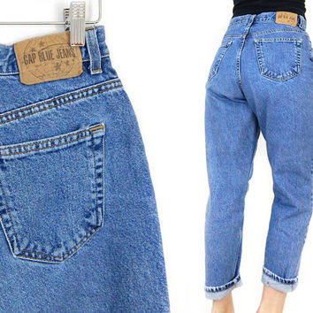 """Vintage 90s GAP High Waist Classic Fit Women's Ankle Jeans - Size 12 - Made in USA Relaxed Stonewashed Mom Jeans - 28"""" Waist"""