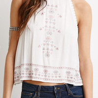 White Lace Trims Embroidered Cut Away Cut Out Loose Crop Top
