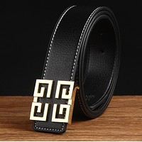 Givenchy Men Fashion Smooth Buckle Belt Leather Belt Black G