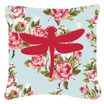 Dragonfly Shabby Chic Blue Roses   Canvas Fabric Decorative Pillow BB1062