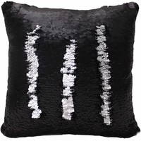 Posh Home Sequined Mermaid Decorative Pillow Silver