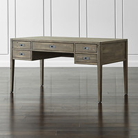 "Morris 60"" Ash Grey Reclaimed Wood Writing Desk"