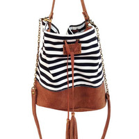 Leather purse, Canvas clutch, Hobo purse, stripes, Brown Leather Handbag, SALE!! And FREE SHIPPING!