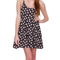 Daisy Sun Dress - Black Print