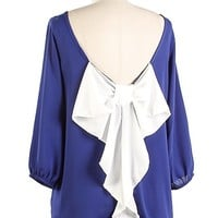 Blue/White Bow Back Top
