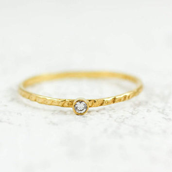 Diamond Ring, Solitaire Diamond Ring, Small Diamond Ring, Dainty Diamond Ring, Dainty Gold Ring, Delicate Gold Ring, Christmas Gift, GR0255