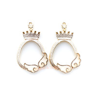 Magical Girl Crown Frame Winged Open Bezel Charms (4 pieces)