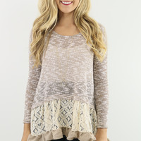 Falling Leaves Mocha Knit Sweater With Ruffled Lace Hem