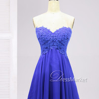 Short sweetheart strapless chiffon applique homecoming dress,Knee length ruyal blue homecoming dress,Short party dress,Blue short prom dress