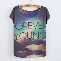 Forever Young Printed Cotton T-Shirt