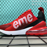 DCCK N003 Nike Air Max 270 Suprmen Off White Flyknit Breathable Running Shoes Red