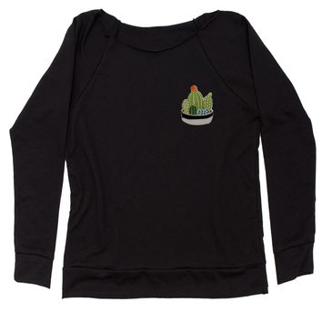 Embroidered Cactus Succulents Patch (Pocket Print) Slouchy Off Shoulder Oversized Sweatshirt