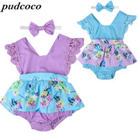 2017 Cute Newborn Baby Toddler Clothes Infant Jumpsuits Summer Ruffle Sleeve Dress Jumpsuit+Headband Baby Girls Clothing Sets