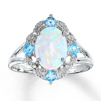 Lab-Created Opal Ring With Topaz and Diamonds Sterling Silver