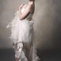 Madison-ostrich feather dress with a cape-bridal-prom