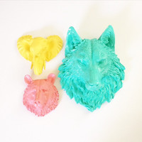 SET: 1 Large Wolf and Any 2 Small Animal heads ANY COLOR combination faux taxidermy wall mount wall hanging