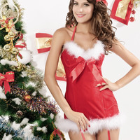 Halter Fluffy Bow Butterfly Christmas Costume