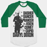 Daryl Dixon Walking Dead Christmas Shirt. Christmas tshirt. Christmas Shirt. Christmas baseball tee. The Walking Dead Shirt.