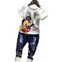 Cartoon children clothing sets Mickey mouse tracksuits Kids baby Boys sumemr 2pcs Set t-shirt+jeans pants fashion Suits Cotton