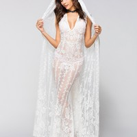 White Lace Cape Dress Cover-Up Maxi Dress
