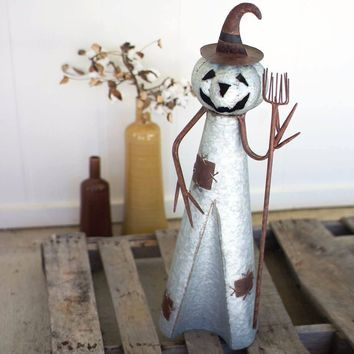 Rustic Jack-O-lantern Witch with Broom