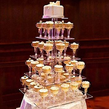 5 Tier Multi-Layer Removable Acrylic Round Cake Stand Display Stand for Beautifully Display Cakes and Party Appetizers