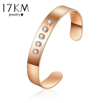 17KM Rose Gold Color Open Cuff Bangles Bracelet for Women 1PCS Fashion Pulseras Mujer Cubic Zircon Bangle Female Party Jewelry