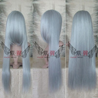 Sephiroth Final Fantasy Anime Cosplay Wig 80cm Long Wig Silver Grey Wig Heat Resistant Free Shipping
