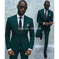 2016 New Style Custom Made Suits For Men Tuxedos Groom Party Suit Dark Green Slim Fit Wedding Suits Groomsman (Jacket+Pants+Tie)