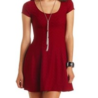 Cap Sleeve Textured Skater Dress by Charlotte Russe - Brick Red
