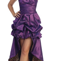 Purple Leopard Animal Print Dress High Low Strapless Bubble Hem
