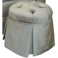 Angel Song 134820156 Aspen Silver Child Round Tufted Ottoman